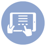 blue icon with hands holding and interacting with touch pad