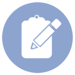 blue icon with clipboard and pencil