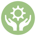 green icon with hands holding gear