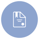blue icon with paper, writing, and seal