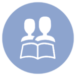 blue icon with two people and an open book
