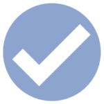blue icon with check mark