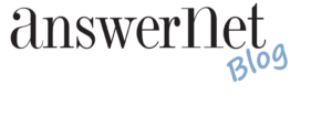 """the answernet logo with """"blog"""""""