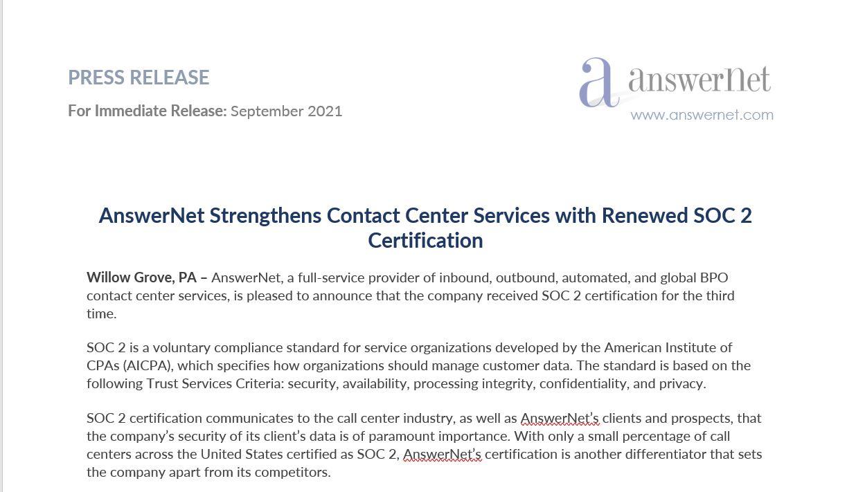 screenshot of SOC 2 press release
