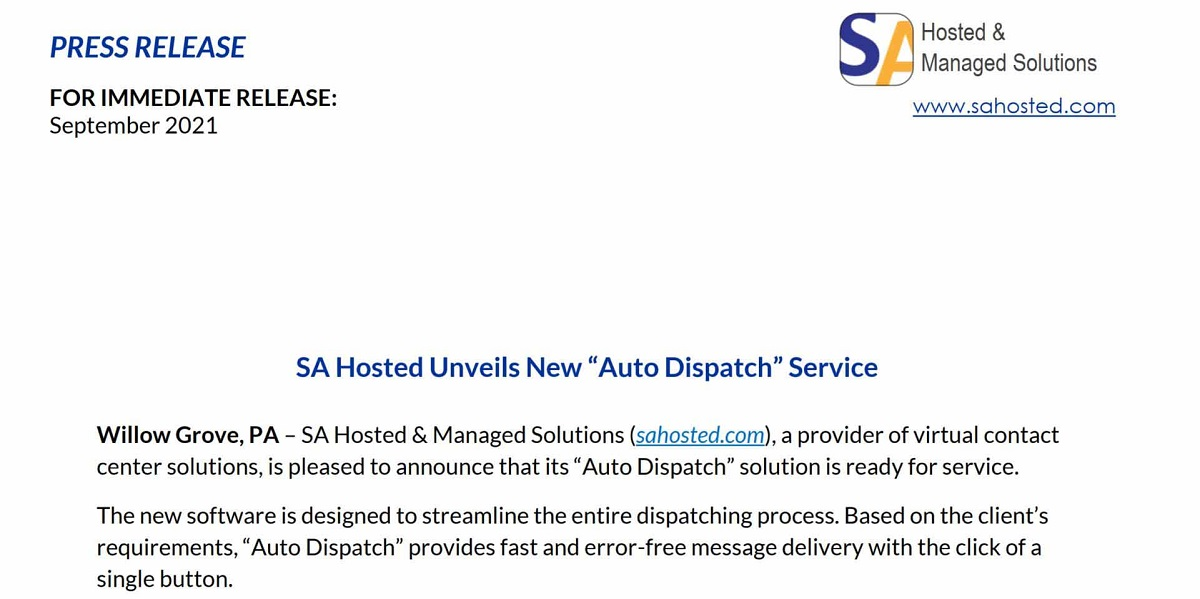 SA Hosted Auto Dispatch Press Release Cover