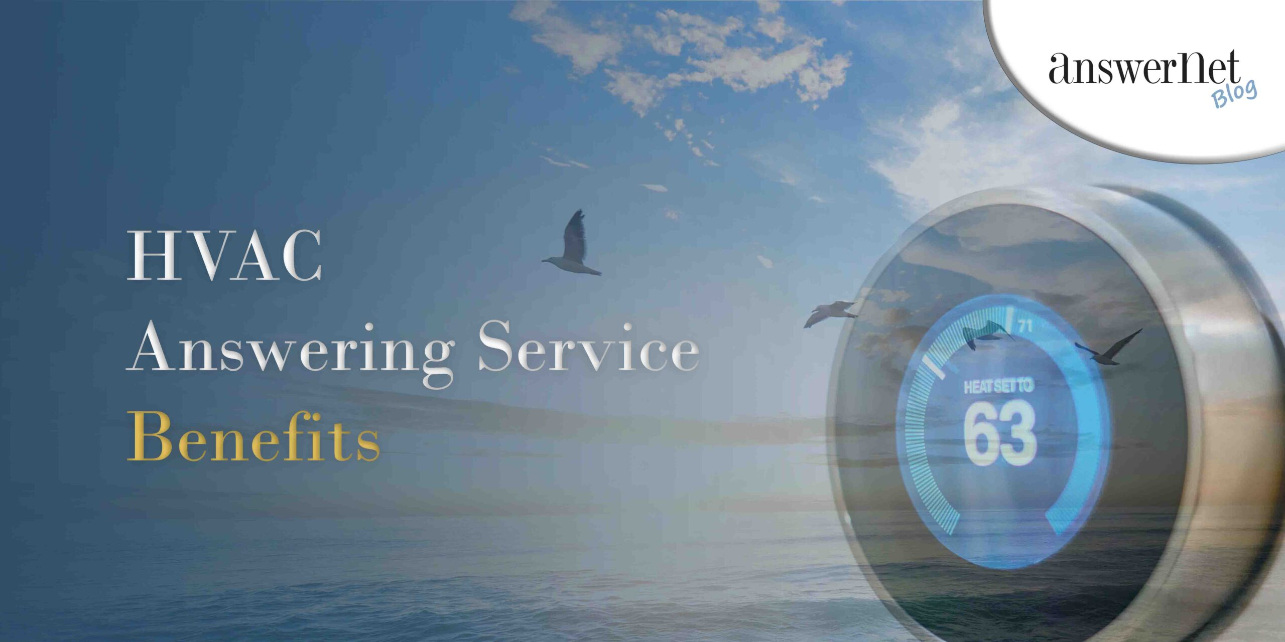 birds flying over an ocean during sunrise with a thermometer - hvac answering service